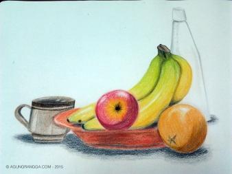 """tugas menggambar """"still-life"""", semua mahasiswa bawa buah-buahan ke kelas~"""
