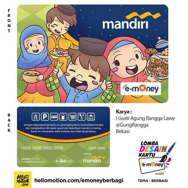 desain kartu Mandiri e-money Berbagi Kebersamaan