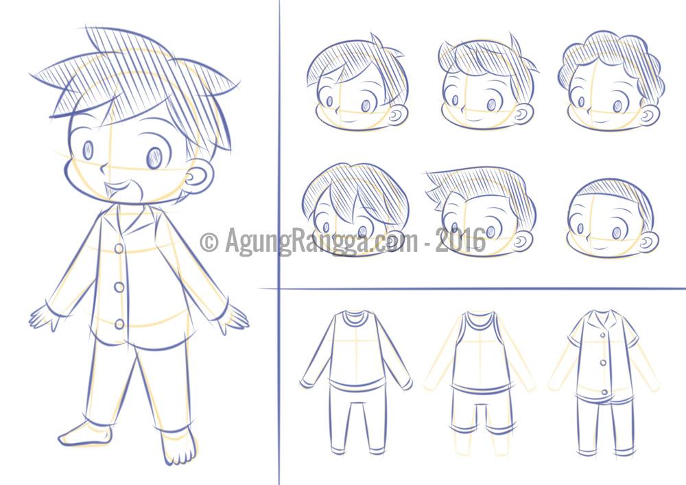 Sketsa Karakter Anak Anak Agung Rangga