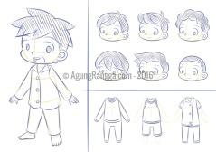 sketsa karakter anak-anak