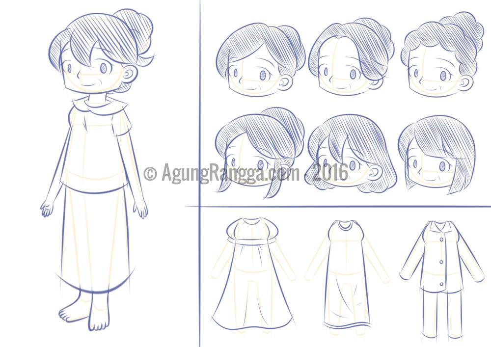 sketsa  karakter ibu  Agung Rangga