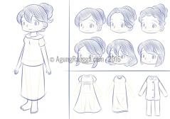 sketsa karakter ibu