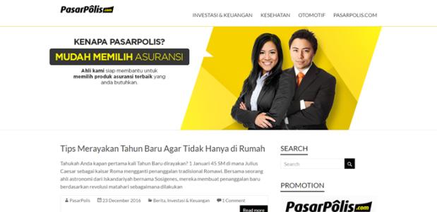 tampilan utama situs Jurnal Asuransi Pasarpolis