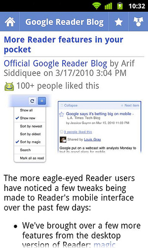 aplikasi Google Reader di Android