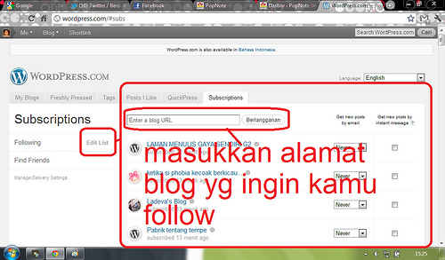ini untuk mengedit & mengatur blog mana saja yang kamu follow/unfollow