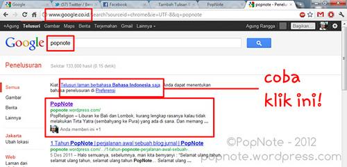 PopNote muncul di urutan pertama pada halaman pencarian google.co.id