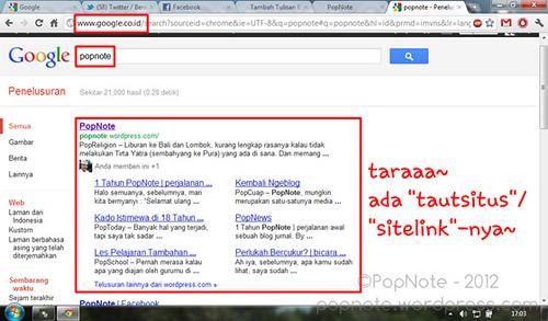 tautsitus/sitelink PopNote di halaman pencarian google.co.id