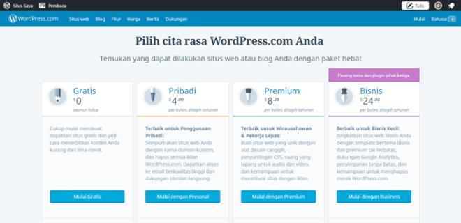 pilihan paket wordpress.com