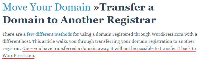 tidak bisa mentransfer domain balik ke wordpress.com