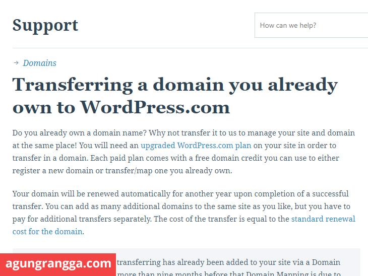 transfer domain ke wordpress.com