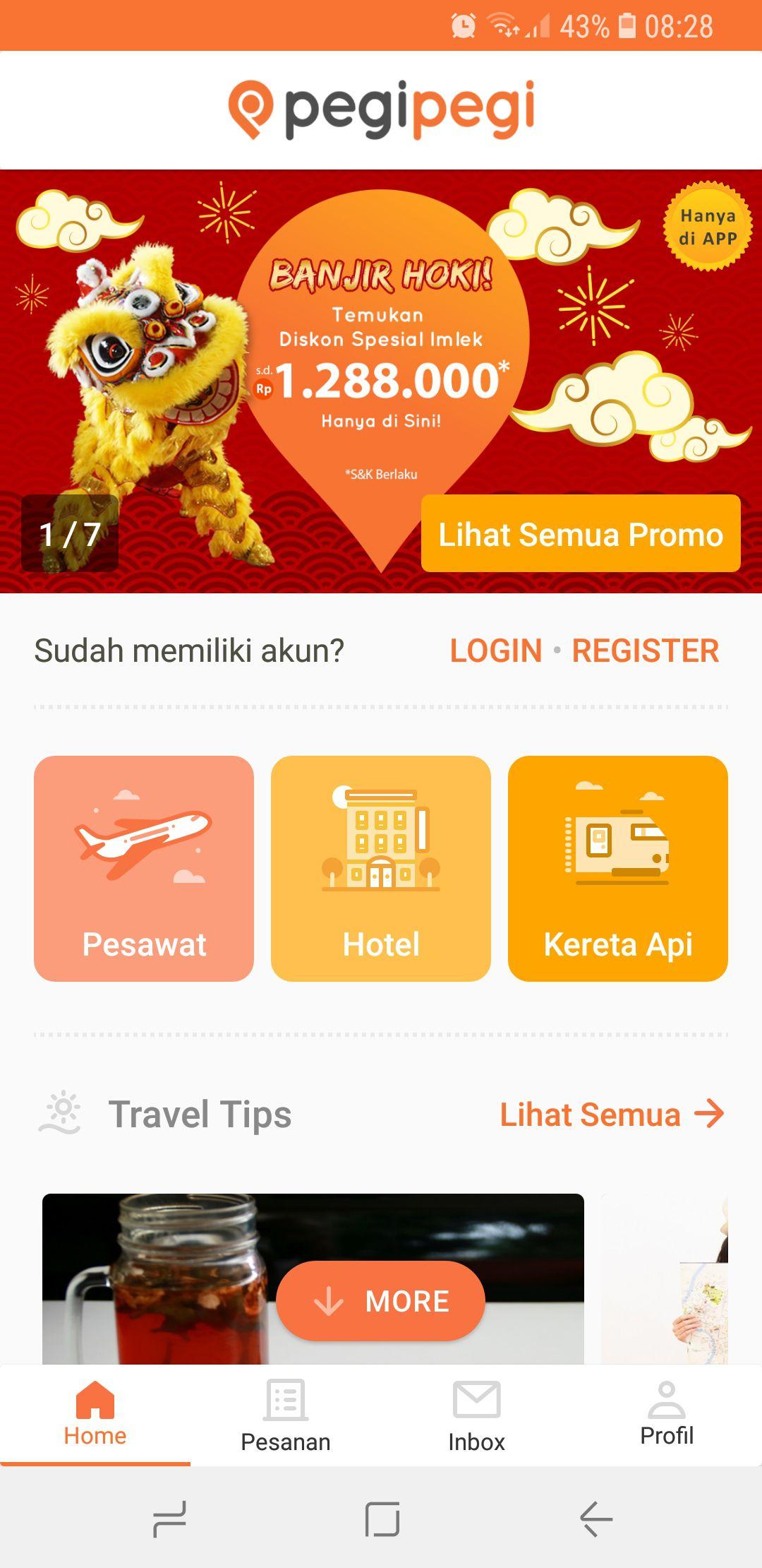 1 - Pasang dan jalankan aplikasi Pegipegi di ponsel Android atau iOS-mu