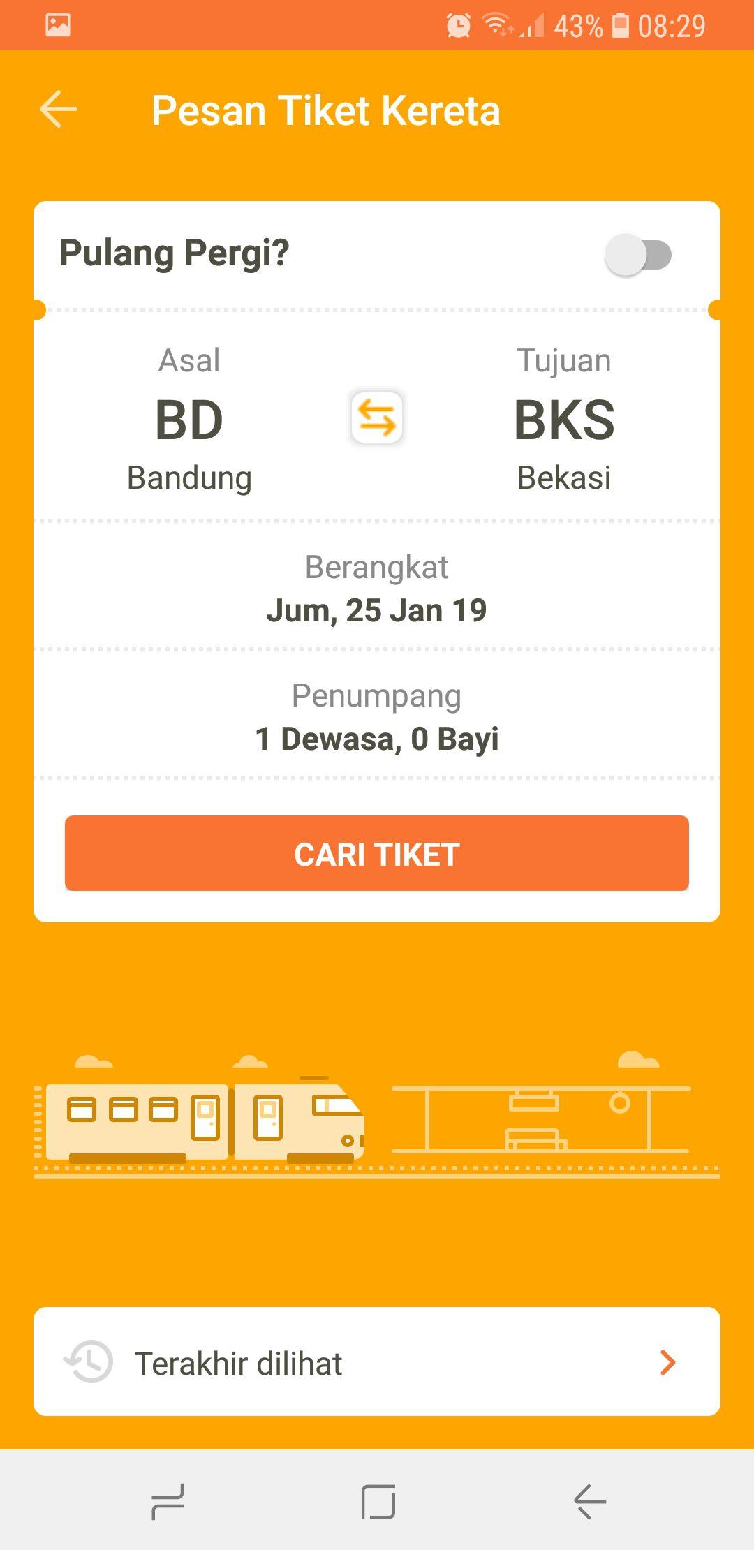 2 - Cari tiket dengan mengisi stasiun asal dan stasiun tujuan, waktu berangkat, dan jumlah penumpang